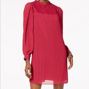 Nanette Lepore Mock-Neck Lace Pleated Dress Berry